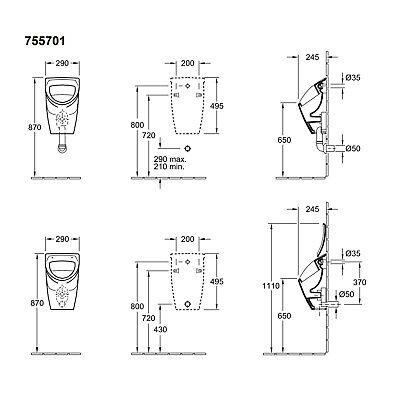 Villeroy /& Boch Urinal Set compact O.novo mit CeramicPlus Deckel Vorwandelement