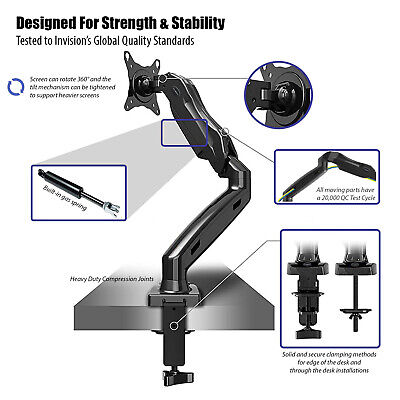 Fully Adjustable Single Arm Monitor Mount | Desk Stand Bracket with Clamp 3