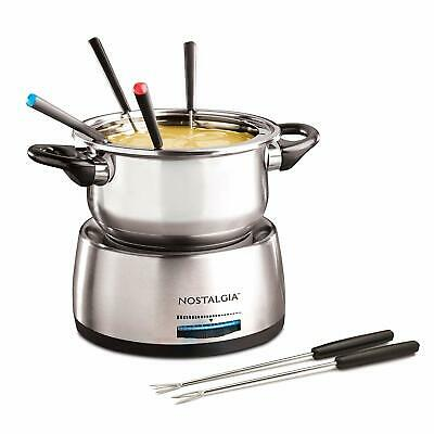 Nostalgia FPS200 6-Cup Stainless Steel Electric Fondue Pot - 500 WATT  / 6 FORKS 4