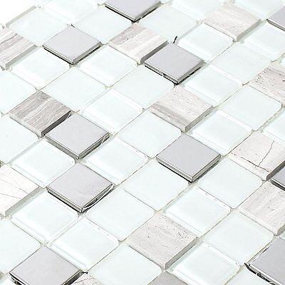 SELBSTKLEBENDE METALL STEIN Glas Mosaik Fliesen Weiss - EUR 7,40 ...