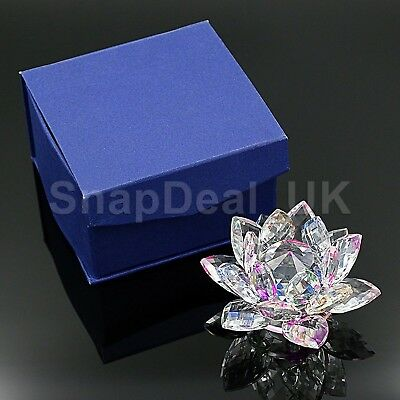 Large Crystal Cut Multi Lotus Flower Ornament With Gift Box For Christmas Xmas_U 4