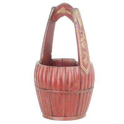 """Antique Chinese Carved Wood Utility Food Basket Bucket w/ Handle  10"""" Dia X 18"""" 7"""