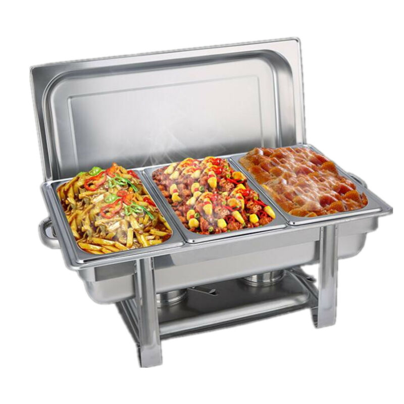 Bain Marie Bow Chafing Dishes Stainless Steel Buffet Warmer Stackable Set AU 2