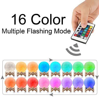 3D Printing Moon Lamp USB LED Night Lunar Light Moonlight Touch Color Changing 2