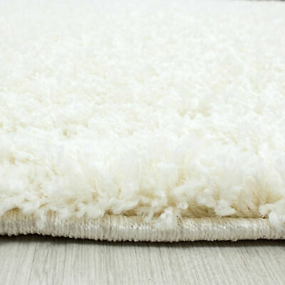 5cm HIGH PILE SMALL EXTRA LARGE PREMIUM QUALITY NON SHED THICK SHAGGY RUG CREAM 3