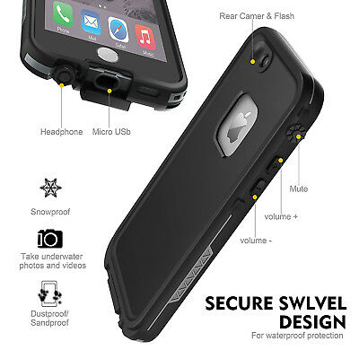For Apple iPhone 6s 6 Plus Waterproof Case Cover w/ Built-in Screen Protector 5