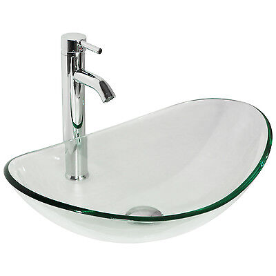 1 Of 10FREE Shipping Bathroom Tempered Clear Glass Vessel Sink Oval Bowl  Chrome Faucet U0026 Pop Up Drain