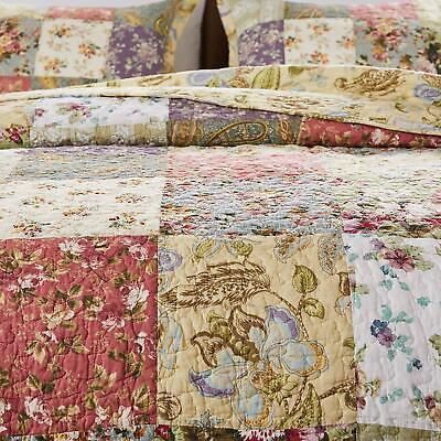 ANTIQUE BLOOM 3p Queen Quilt Set Floral Paisley Country Cottage Garden Farmhouse