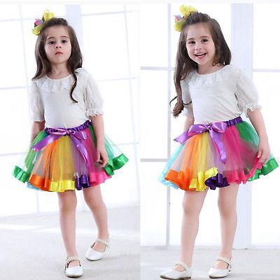 Girls Rainbow Tutu Skirt Dress Kids Princess Dance Unicorn Horn Hair Headband