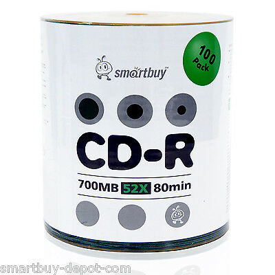 100 Pack Smartbuy CD-R 52X 700MB/80Min Logo Top Surface Blank Media Record Disc