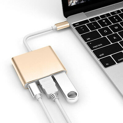 New Type C to USB-C 4K HDMI USB 3.0 3 in 1 Hub Adapter Cable For Apple Macbook 8