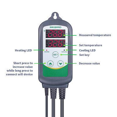Inkbird ITC-308 WIFI Temp Controller Thermostat 2 Dual Relays 2400W AU Plug Heat 8