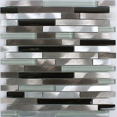 3 Von 4 Aluminium Glas Mosaik Fliesen Braun Schwarz Weiss Silber Badmosaik  Bad Küchen