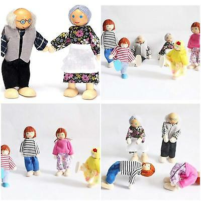 UK Wooden Furniture Dolls House Family Miniature 7 People Doll Kids Children Toy 6