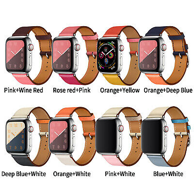 Leather Band Bracelet Strap For Apple Watch Series 5 4 3 2 1 38mm/40mm/42mm/44mm 2