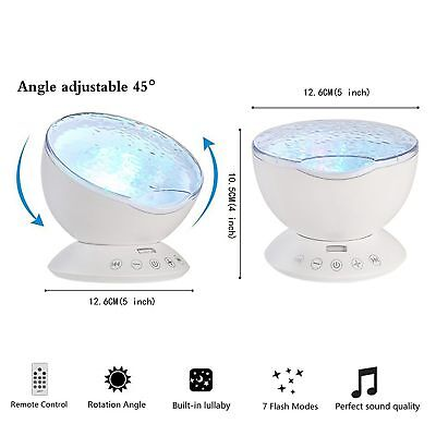 Relaxing Ocean Wave Music LED Night Light Projector Remote Lamp Baby Sleep Gift 10