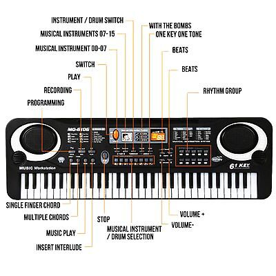Musical Keyboard Piano 61 Keys Electronic Electric Digital Beginner Kids Set 8