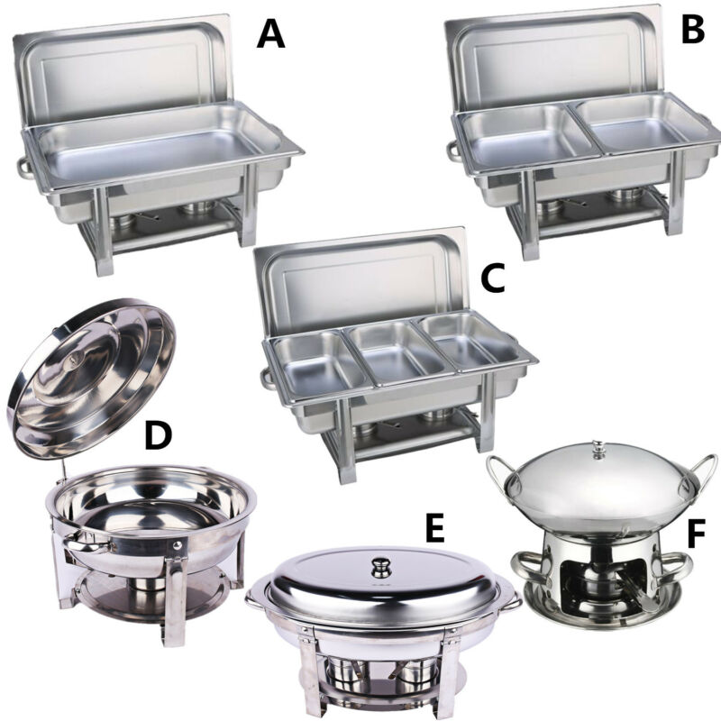 Multi Stainless Steel Bain Marie Chafing Dishes Buffet Food Warmer Pan Heater AU 3