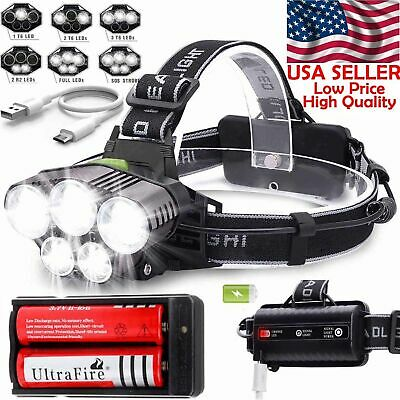 250000LM 5X T6 LED Headlamp Rechargeable Head Light Flashlight Torch Lamp USA 2