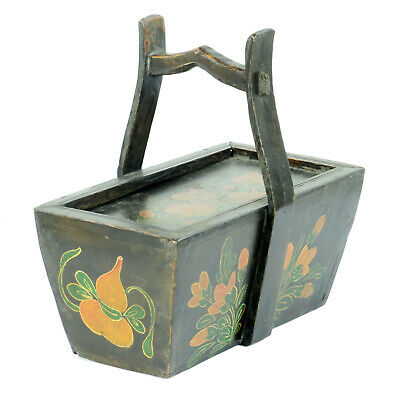 Small Antique Chinese Painted Food Utility Box, Black with Colorful Paintings 8