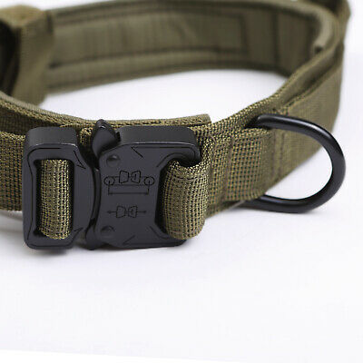 HEAVY DUTY K9 Military Dog Collar Leash Handle Medium Large metal Buckle 11