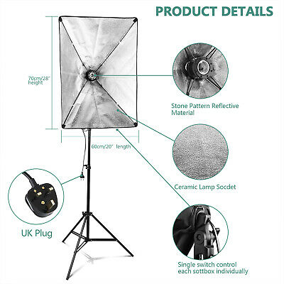 50W LED Continuous Lighting Softbox Photography Studio Soft Box Light Stand Kit 2