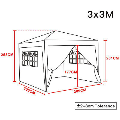 3x3m Pop Up Gazebo Marquee Outdoor Garden Party Tent Canopy 4 Side Panels New 10