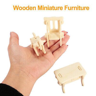Mini 3D Wooden Puzzle DIY 34 Pcs Miniature Dollhouse Furniture Models For Doll 6