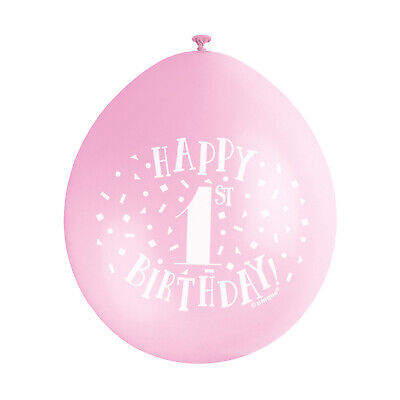 """10 HAPPY 1st BIRTHDAY 9"""" BLUE PINK MIX Latex Balloons Party Decoration Air Fill 7"""