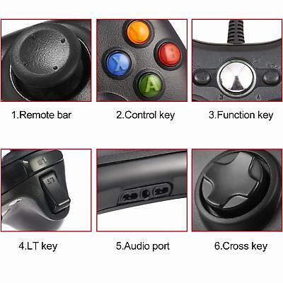 Wired USB Game Controller Joystick for Microsoft Xbox 360 / PC Windows XP 7 8 10 12