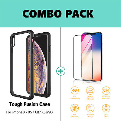 iPhone X XS Max XR Case ZUSLAB Clear Heavy Duty Shockproof Slim Cover + GLASS SP 3