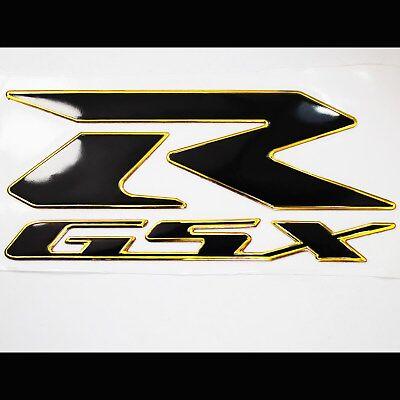 """Black Tribal Fire Gas//Fuel Tank Pad+3D 6/"""" Logo+Suzuki GSXR 2-Tone Emblem Sticker"""