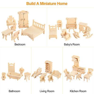 Mini 3D Wooden Puzzle DIY 34 Pcs Miniature Dollhouse Furniture Models For Doll 4