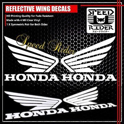"7/"" LEFT+RIGHT FAIRING//FUEL TANK STICKER REFLECTIVE VINYL DECAL FOR HONDA WHITE"