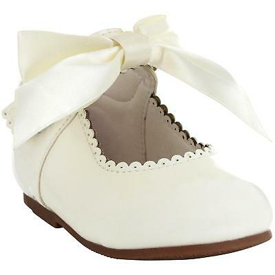 Girls Bridesmaids Bow Ribbon Party Shoes Patent Shoes Infant Sizes UK 1,3,5,7,10 3