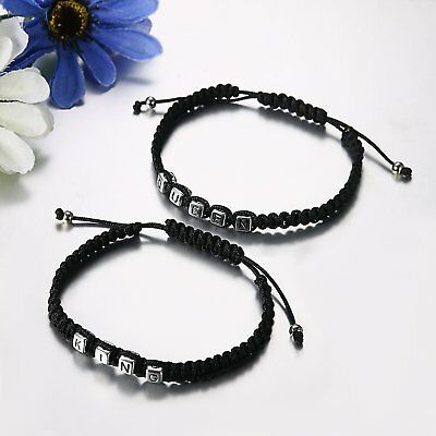 2pcs Handmade His and Hers Lovers Matching His Queen Her King Couple Bracelet 3