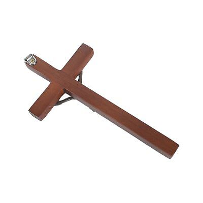 Vintage Wooden Metal Wall Cross Crucifix Holy Religious Carved Christ Brown 3