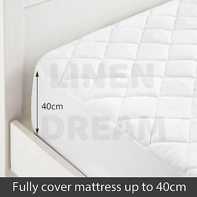 Aus Made Fitted Cotton Cover Quilted Mattress Protector Topper Underlay ALL SIZE 5