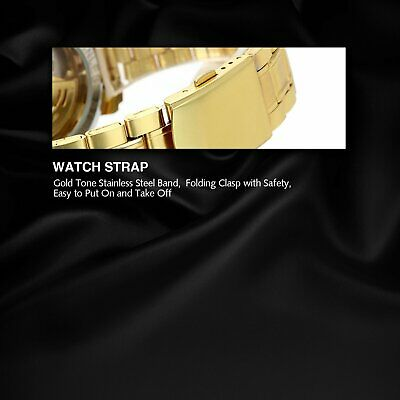 Luxury Mens Stainless Steel Gold Tone Skeleton Automatic Mechanical Wrist Watch 5