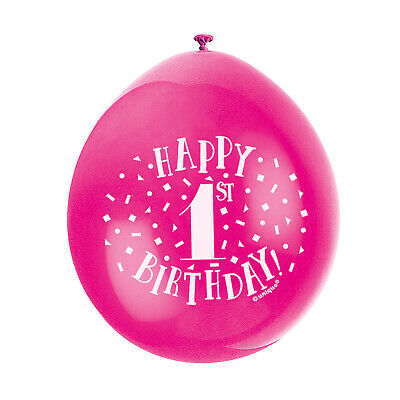 """10 HAPPY 1st BIRTHDAY 9"""" BLUE PINK MIX Latex Balloons Party Decoration Air Fill 10"""