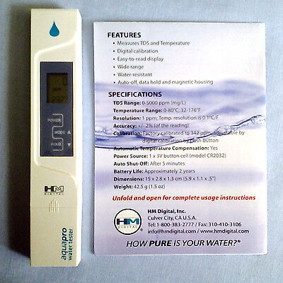 HM TDS Meter, aquapro water tester, in ppm (parts per million), model AP-1 2