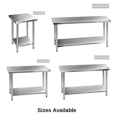 430 Stainless Steel Bench Table Commercial Home Kitchen Work Food Grade Shelf 2
