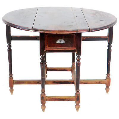 Antique Asian Chinese 42 inch Round Drop Leaf Gate Leg Table 6