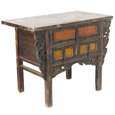 """Antique Chinese Asian 43 """" Wide 3 Drawer Table Coffer Cabinet Vanity 12"""