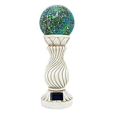 Solar Powered Mosaic Ball on Column Outdoor Garden Light Decoration Ornament New