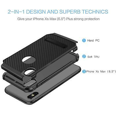 Fits iPhone Carbon Fiber Hybrid Rugged Hard Armor Shockproof Kickstand Case 7
