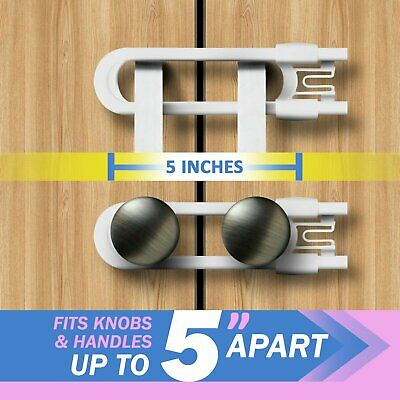 Child Safety Sliding Cabinet Locks (4 Pack) - Baby Proof Knobs, Handles, & Doors 3
