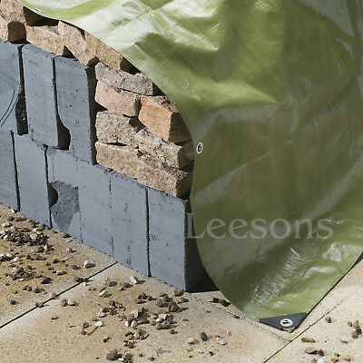 Tarpaulin 200gsm Heavy Duty Green Builders Waterproof Ground Sheet Tarp Cover 2