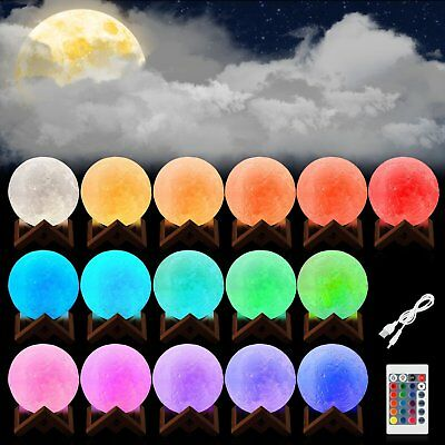 3D Printing Moon Lamp USB LED Night Lunar Light Moonlight Touch Color Changing 3