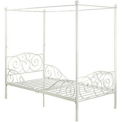 princess bed frame twin canopy furniture white metal girls bedroom kids size new 3